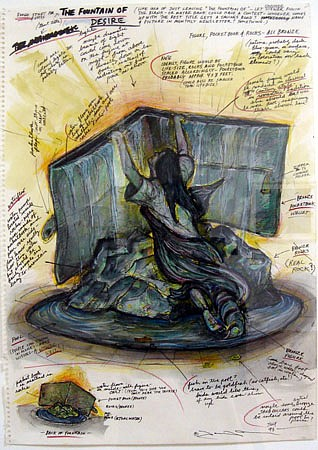 """Terry Allen, Study for """"Fountain of Desire"""" 1993, Watercolor and colored pencil on paper"""