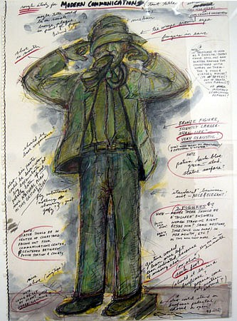 Terry Allen, Study for 'Modern Communication' 1993, mixed media on paper