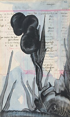 Virgil Grotfeldt, Past Present Tense No. 87 2003, Coal Powder and Watercolor on Found Paper