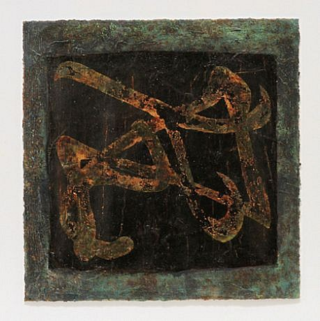Jim Martin ,   FYI  ,  2010     Acrylic, copper leaf, patina on paper ,  12 1/2 x 12 1/4 in. (31.8 x 31.1 cm)     JMA-029
