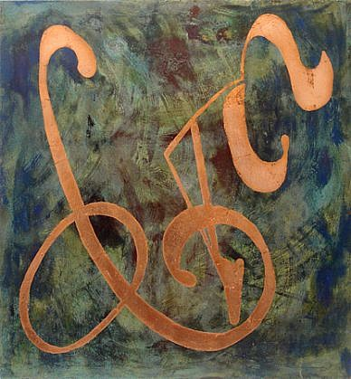Jim Martin ,   GMO  ,  2012     Acrylic, copper leaf, patina on canvas ,  42 x 39 in. (106.7 x 99.1 cm)     JMA-059
