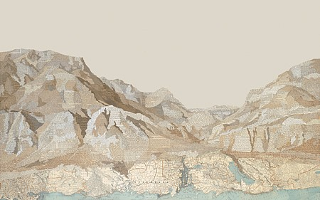 Matthew Cusick, World Without End 2015, Inlaid text, maps, and acrylic on panel