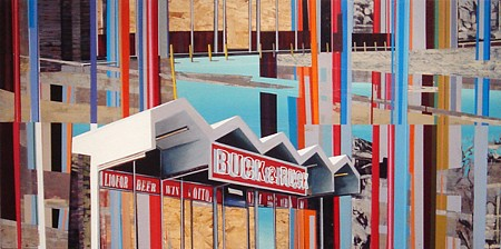 Kim Cadmus Owens, Buck & Ruck 2014-2015, Oil and acrylic on oriented strand board