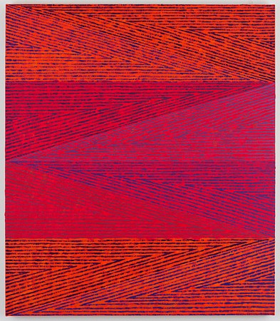 Todd Chilton, Orange and Violet Triangles 2015, Oil on linen over panel