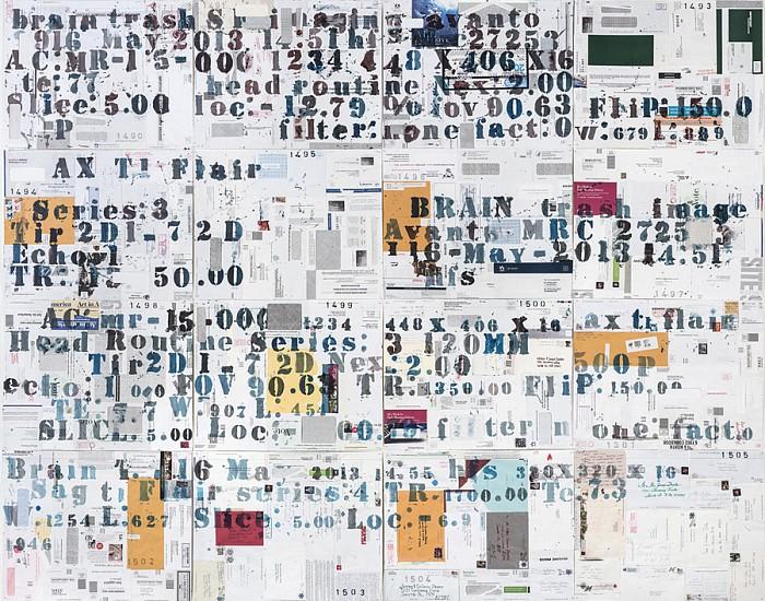 James Drake, Brain Trash 2016, ink, charcoal on envelopes mounted on archival paper