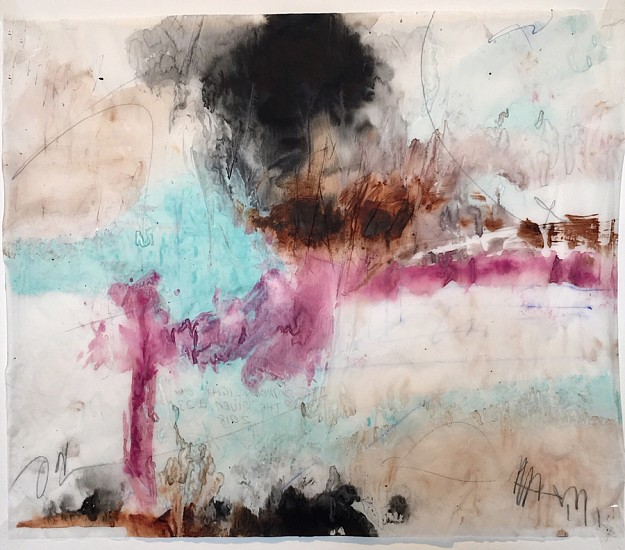 Stuart Arends, Moonlight on the River 23 2018, Watercolor, ink, and pencil on tracing paper