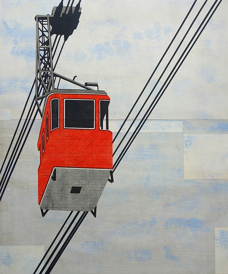 William Steiger ,   Aerial Tramway  ,  2019     collage of found and cut paper, gouache, glue ,  29 1/4 x 25 1/4 in.     WST-055