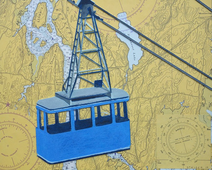 William Steiger ,   Blue Tramway  ,  2019     collage of found and cut linen pulp paint, vintage map, color pencil, glue ,  8 x 10 in.     WST-067